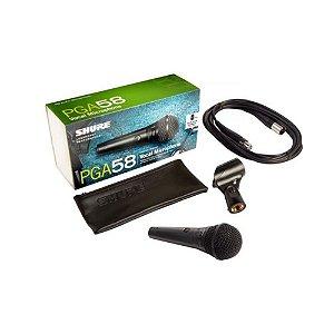 Microfone dinâmico Vocal Cardioide  Shure PGA-58 XLR
