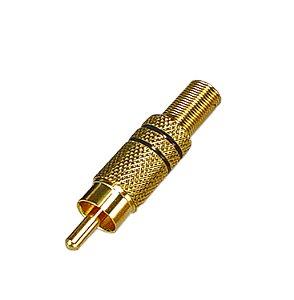 Conector Plug Macho RCA WD 4011G CSR Dourado Com Mola