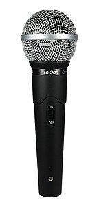 Microfone De Mão Dinâmico Leson LS 50 Preto Cardioide Com Fio