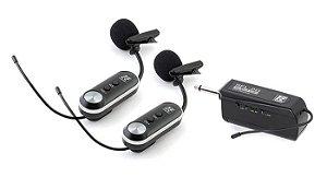 Microfone Sem Fio Lapela Duplo Staner SFL-20 UHF Digital Wireless