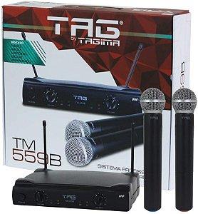 MICROFONE S/ FIO TAGSOUND TAGIMA TM 559 B   MÃO   DUPLO   UHF