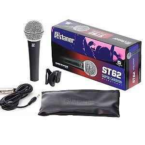 Microfone De Mão Com Fio Staner ST62 Dinamico Super Cardiode