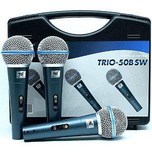 Kit com 3 Microfone Com Fio TSI TRIO-50B SW Dinâmico - TSI