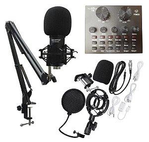 Kit de Microfone Condensador C/ Interface SK-BM800 V8 SKYPIX