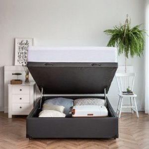 Base para Cama Box Casal Premium com Baú Corino (47x138x188) Marrom