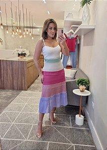 Vestido midi colorido com amarração