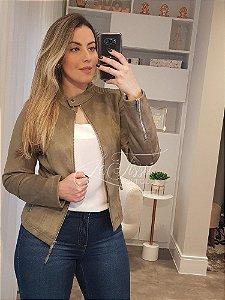 Jaqueta de suede lisa