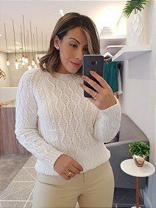 Blusa em tricot manga longa branco