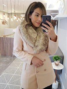 Maxi casaco lã batida com gola de pelinhos removível