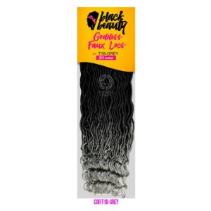 Goddess Faux Locs 300g  (cor t1b/ gray  preto com as pontas platinadas) - BLACK BEAUTY