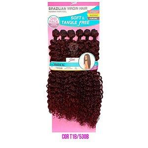 Cabelo Freda XL 260g - COR T1B/530B PRETO COM VERMELHO  Brazilian Virgin Hair