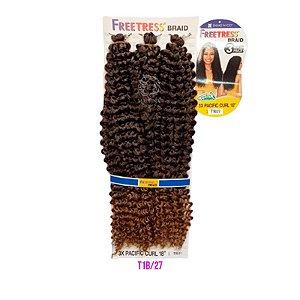 "3X Pacific Curl 18"" - Freetress ( cor T1B/27 PRETO MESCLADO COM LOIRO MEL )"