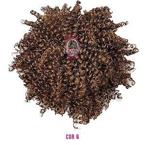 Afro Puff Orgânico 120g Fashion Line ( cor 6 castanho médio )