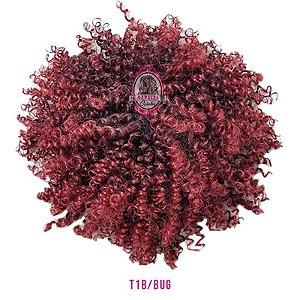 Afro Puff Orgânico 120g Fashion Line ( cor T1B/BUG PRETO COM VERMELHO  )