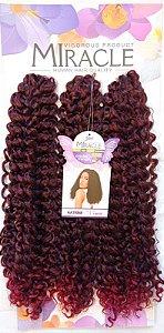Cabelo Miracle Katrine 220g - Crochet Brad (Cor T1B/530 - Preto + Vermelho Marsala)