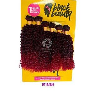 Cabelo Cachos Perfeitos OA  - Black Beauty ( Cor MT1B/BUG  - Preto mesclado com vermelho marsala)
