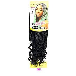 """2X Real Box Braid 14"""" ( cor 1 - Preto )"""