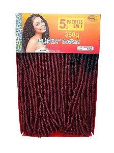 Fibra Nina Alínea 360g ( COR T(R1 - 3) T1B/BUG - Preto na raíz  + vermelho cereja)