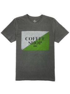 Camiseta Estonada Estampa Coffee Shop