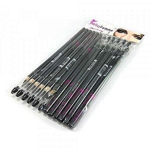 Lápis para Olhos Preto com Apontador Bella Femme BF10003 12 Unidades