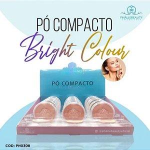 Pó Compacto Facial Bright Colour Phállebeauty PH0308 Cores Claras  18 Unidades