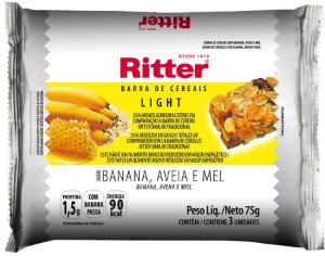 Barra de Cereal Light - Banana, Aveia e Mel - 3un