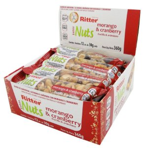 Barra Nuts Morango e Cranberry - Display com 12 un