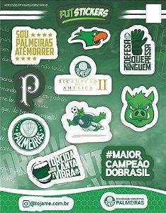 Cartela de 10 adesivos do Palmeiras