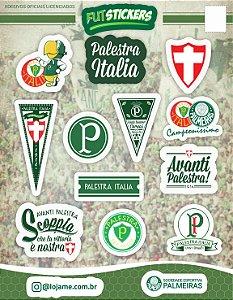 Cartela de 12 adesivos da história do Palmeiras