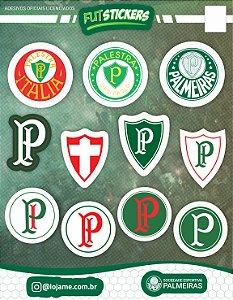 Cartela de 11 adesivos dos escudos do Palmeiras
