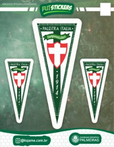 Cartela de 3 adesivos flâmula cruz de savoia - Palmeiras