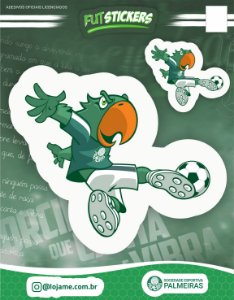 Cartela de 2 adesivos do mascote Periquito - Palmeiras