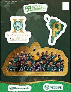 Cartela de 3 adesivos de Campeão da América - Palmeiras