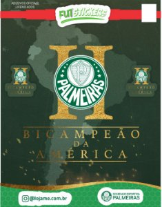 Cartela de 3 adesivos de BI-CAMPEÃO DA AMÉRICA  - Palmeiras