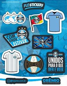 Cartela de 9 adesivos diversos do Grêmio