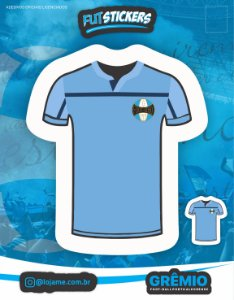 Cartela de 2 adesivos da camisa n° 3 do Grêmio