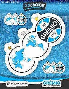 """Cartela de 3 adesivos """"3 MUNDOS"""" do Grêmio"""