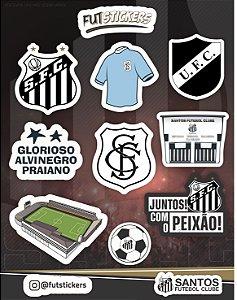 Cartela de 10 adesivos diversos do Santos