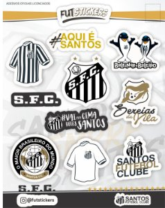 Cartela de 11 adesivos diversos do Santos