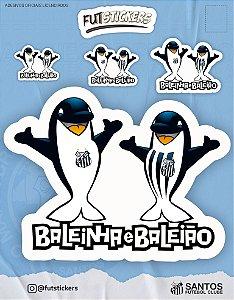 Cartela de 4 adesivos dos mascotes do Santos - Baleinha e Baleião