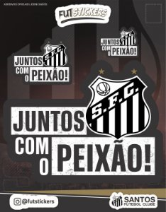 """Cartela de 3 adesivos do """"JUNTOS COM O PEIXÃO"""" - SANTOS"""