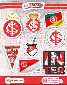Cartela de 8 adesivos diversos do Internacional