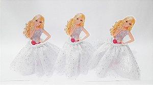 Tubetes saia personalizados Barbie branca