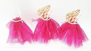 Tubetes saia personalizados Barbie rosa