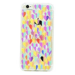 Capinha iPhone 6 e 6S corações coloridos