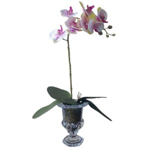 Arranjo Orquídea Pink e Branca taça vidro  50x11cm