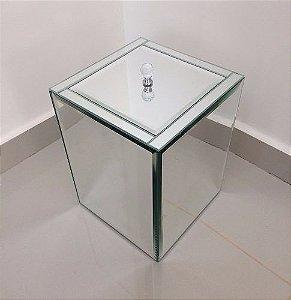 Lixeira Espelhada Bisotada Puxador De Cristal Tampa Embutida
