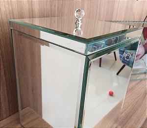 Lixeira Espelhada Bisotada TP Sobrepor Puxador De Cristal