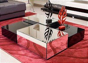 Mesa de Cento de Espelho com Vidro Pintado de Preto