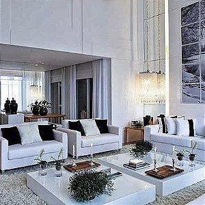 Conjunto de Mesa De Centro Vidro Pintado Branco Para Sala